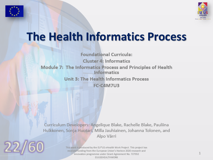 Unit 22: The Health Informatics Process